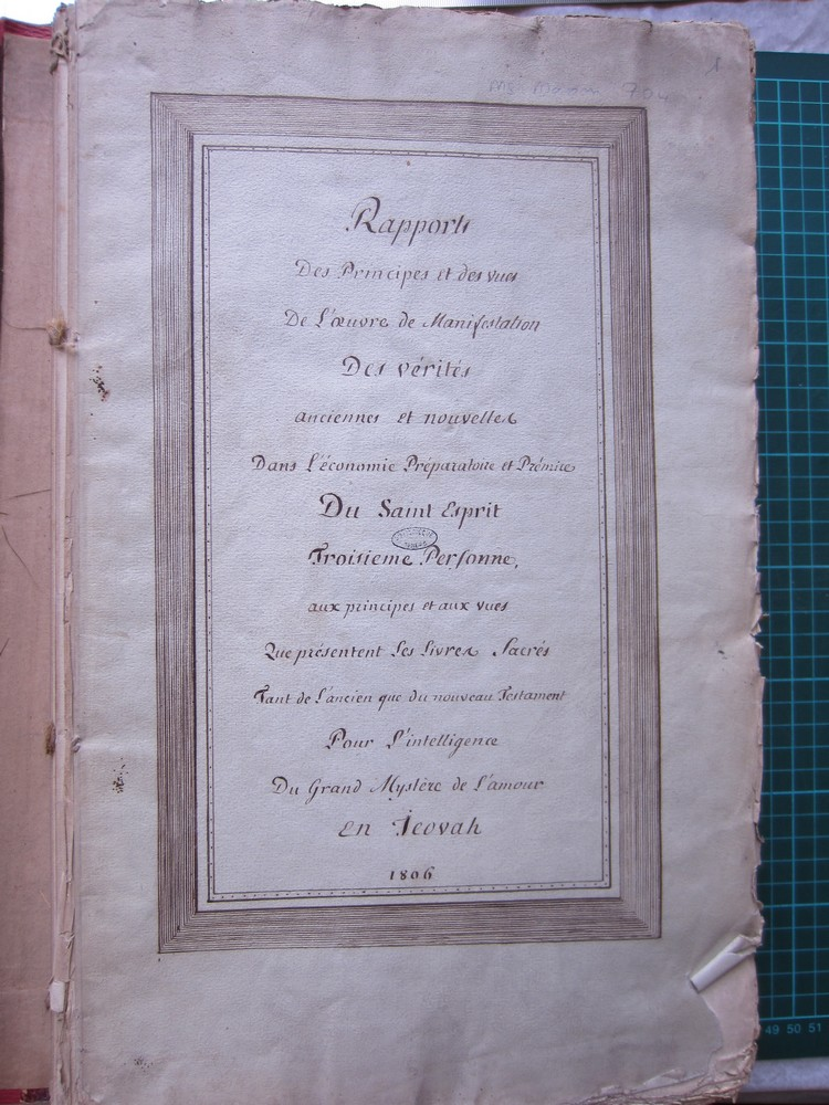 Ms Masson 704-01 : page de titre du manuscrit Ms Masson 704