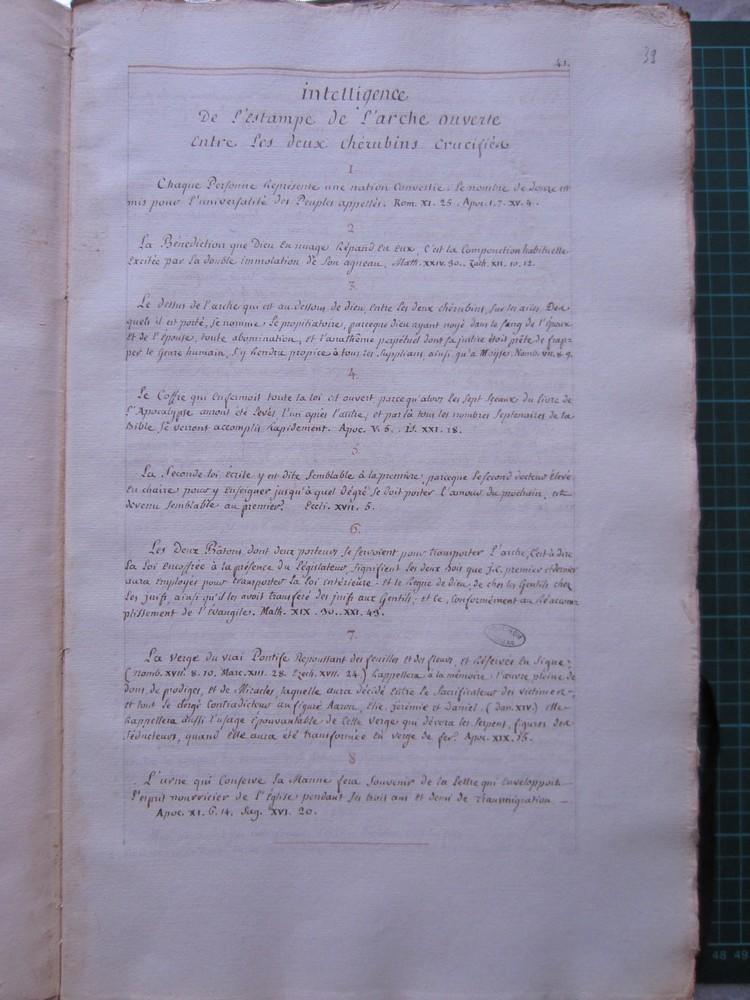 Ms Masson 704-06 : intelligence (explication) de l'estampe de l'arche ouverte entre les deux chérubins crucifiés